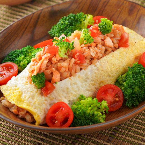 鮭魚蛋包飯-和風-鮭魚